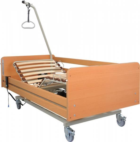 Wohnliches Pflegebett S4 inklusive Aufrichter und Haltegriff