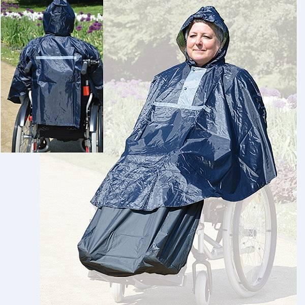 Rollstuhl-Regenponcho mit Kapuze