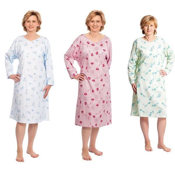 Diskretes Damen-Pflegehemd mit offenem Rückenteil