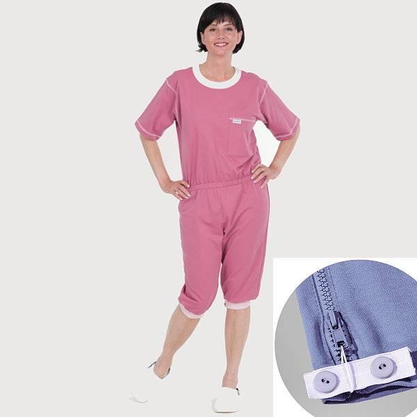 Pflegeoverall mit Beinreißverschluss halber Arm