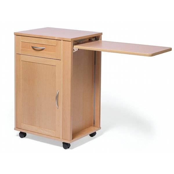 Pflegebett-Tisch mit ausklappbarer Tischplatte