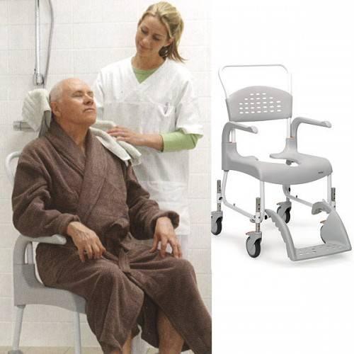 Dusch- und Toilettenrollstuhl Clean, höhenverstellbar