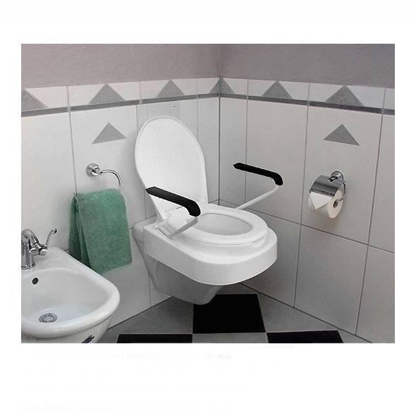 Stylische Toilettensitzerhöhung Relaxon Star mit gewinkelten Armlehnen