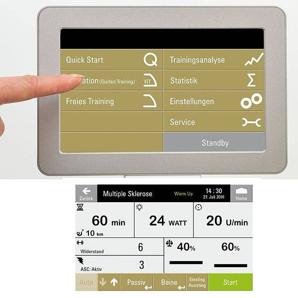 Elektrischer Beintrainer Movanimo Easy mit Touch-Display