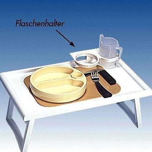 Bett-Tisch mit Flaschenhalter