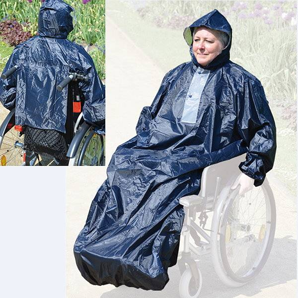 Marineblaues Rollstuhl-Regencape mit Kapuze