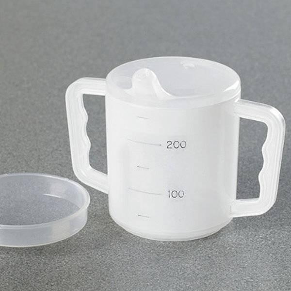 Tasse mit Henkeln und Deckel