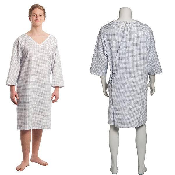 Pflegehemd für Damen und Herren mit Bindung an Nacken & Hüfte